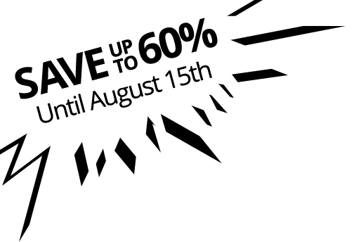 Save 60% until August 15th