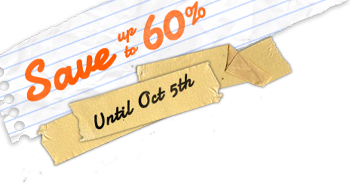 Save 60% until October 5th